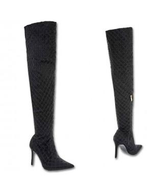 Visoki škornji, čez koleno 017, črni