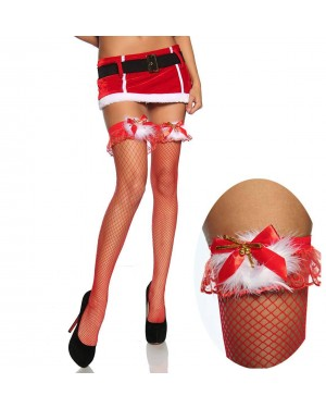 Nogavice božične mrežaste z volančkom