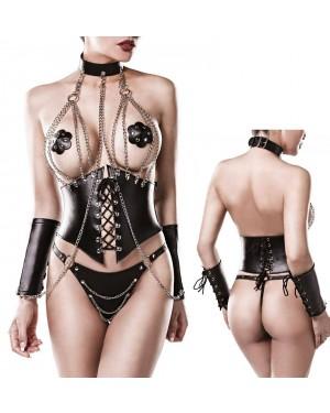 Erotično perilo, 4-delni komplet Grey Velvet Jetta, črn