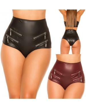 Kratke hlače, hotkice imitacija usnja Diann-2, črne