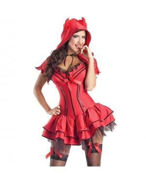 Kostum hudička Deluxe Devil, rdeč