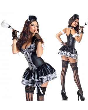 Pustni kostum sobarica Charming French Maid, črn