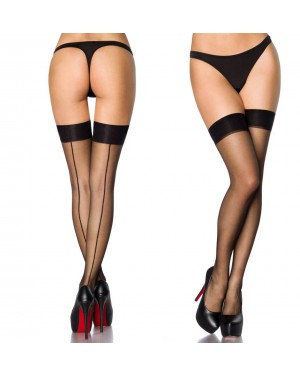 Nogavice prosojne s črto, črne