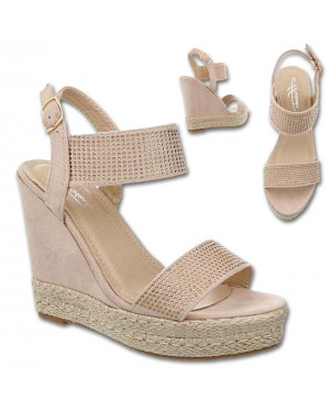 Sandali polna peta, platform 3811-7, bež