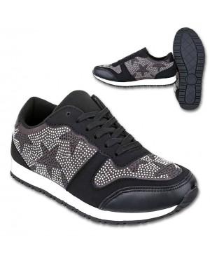 Superge, sneakers s podloženo peto S37, črne
