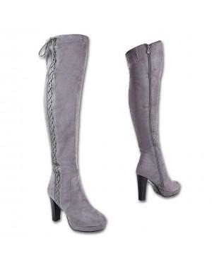 Ženski škornji visoki, čez koleno platform J23, sivi