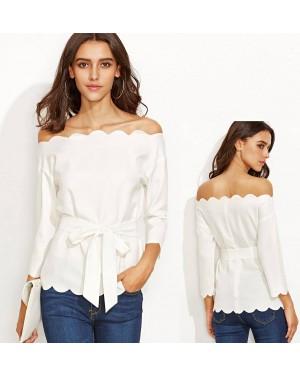 Bluza odprta ramena Lida, bela
