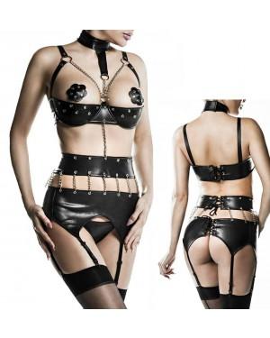 Erotično perilo, 3-delni komplet Grey Velvet Rashida, črn