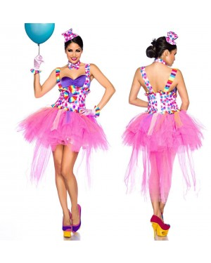 Pustni kostum klovn Pinky Clown, pink