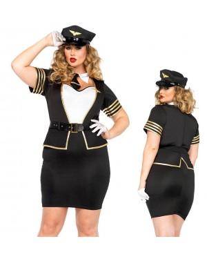 Kostum pilotka Mile High, črno/bel