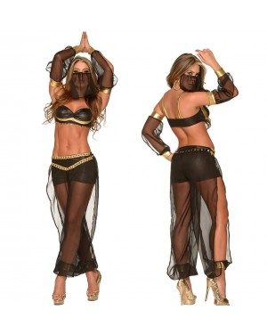 Kostum trebušna plesalka Belly Dancer, 4-delni, črn