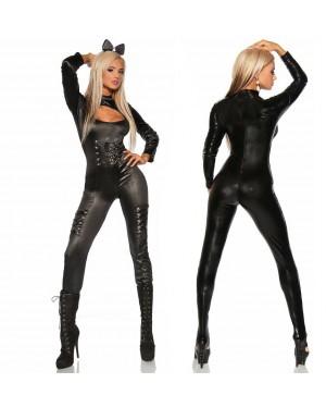 Kostum Catwoman Overall, črn