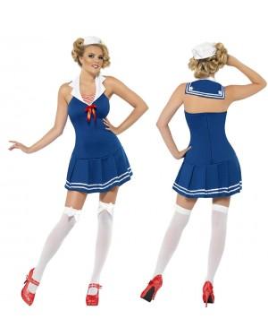 Pustni kostum mornarke Ahoy Sailor, moder