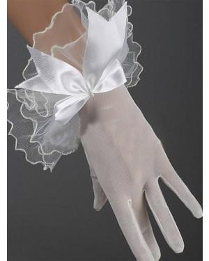 Rokavice kratke prosojne z volančki, bele