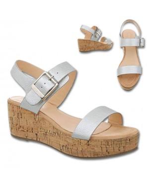 Sandali podložen podplat 8366, srebrni