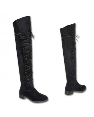 Ženski škornji visoki, čez koleno 6449, črni